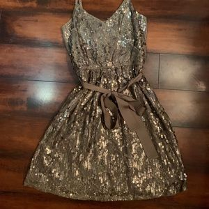 Brown/taupe Express dress with sequins